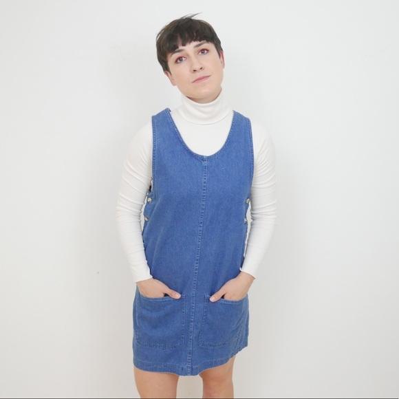 ‼️$20 SALE‼️ Vintage Denim Overalls Mini Dress S
